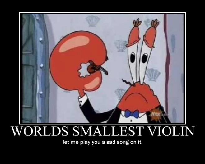ÓOO.. rasgou a bermudinha foi? Deixa eu tocar uma musica pra vc no menor violino do mundo.. (piada interna São Carlos Pression team)