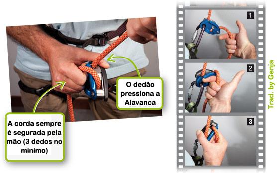 Movimento APENAS para a hora que o escalador precisa de corda rápido (vai costurar por ex.)
