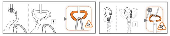 O String serve pra manter o mosquetão orientado na posição correta.