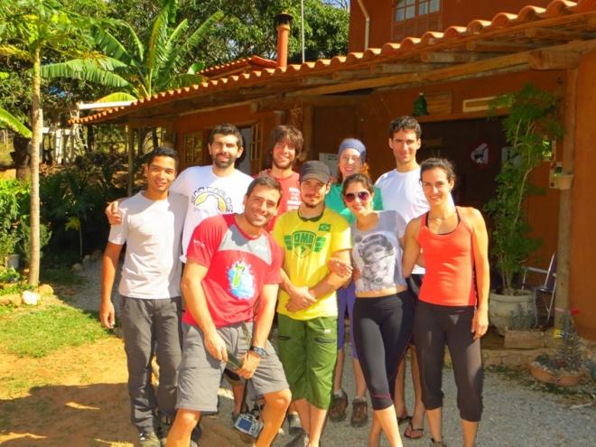 Preza, eu, Sebá, Naná, Rô, na frente: ROgério, Beto, Julia e Isa