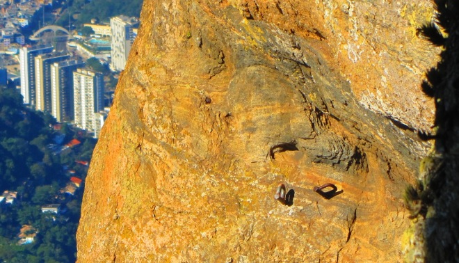 "This is the ""Grampo P"" at at one crag at Rio. The one on the right has been replaced by the left one by the locals."